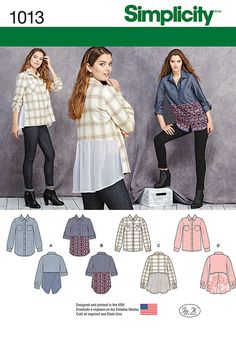 Simplicity 1013: Misses' button front shirt features fabric mixing and cross-over, basic, gathered or pleated back shirttail. sleeve can be long or rolled up with tab closure.