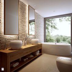 décoration salle de bain, pierre, blanc et bois