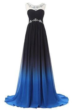 JoyVany Ombre Chiffon Party Dresses Gradient Formal Prom Dress with Cap Sleeves Size 2