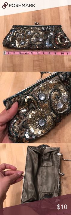 Sequined and Beaded Olive Green Clutch Super cute olive green clutch with brown and gold and silver beading and sequins. Used one time for my birthday a number of years ago. Cleaning out my closet so check out all my other items! Buy 2+ items and get 10% off a bundle Apt. 9 Bags Clutches & Wristlets