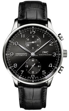 IWC Portuguese chronograph, Black on Black. Great with a black suit, and black tie, and black shoes, and black belt . . . too much black? ;-) #IWC, #Men's Watches
