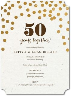 Cheers for 50 years gold anniversary party invitations printed on sparkling together anniversary invitations in smoke or gilded stopboris Choice Image