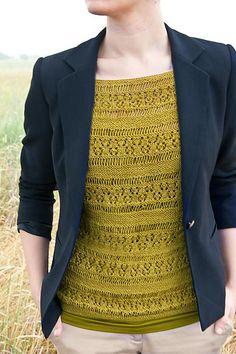 boatneck lace blouse in light fingering; Bernadette Lace Blouse by Lacie Lynnae.