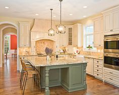 Bright Wood Kitchen with Island : Bright Home Kitchens Interior Decor Idea With Sage Green Colored Island Covered By Cream Granite Counter Top