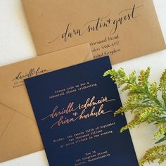Rose gold foil with navy paper and Kraft envelopes