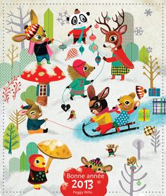 Adorable and whimsical Christmas illustration by Peggy Nille