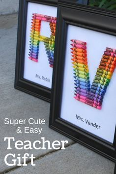 crayon monogram letter, things to do with crayons, DIY, teacher gift, tutorial, framed, back to school, thank you, personalized, end of year gift, ideas, teacher appreaction, toddler, preschool, kindergarten #teachergift  #giftideas