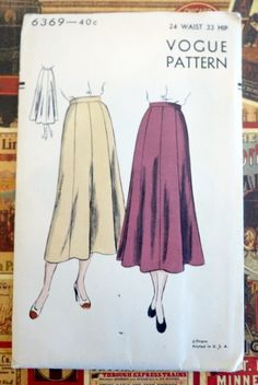 Vintage 1940s Flared Eight Gored Midi Skirt  - Vogue 6369 by Fragolina on Etsy