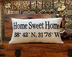 10% OFF Personalized Pillow Home Sweet Home by NeaPillows on Etsy--- $25. Choose color!