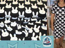 Jersey mit Hasen *Bunny* weiß auf schwarz