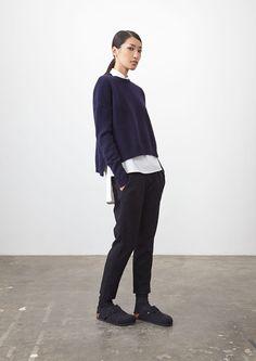 Navy Bowery Knit, Parchment Nevin Shirt, Jacquard Standard Pant 2