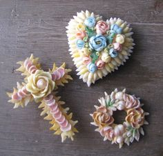 vintage shell brooches