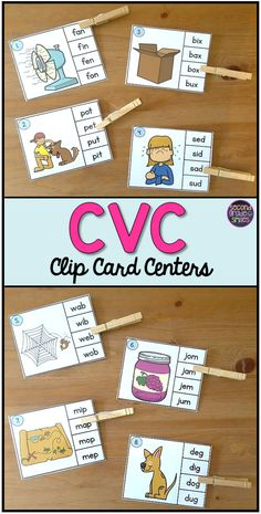 Cvc Activities Cvc Clip Cards If Your Kindergarten First Grade Or Second Grade Students Need Practice Identifying Medial Vowel Sounds In Cvc Words This Clip Card Activity Will Make A Great Literacy Center Word Work Center Or Early Finisher Activity Kindergarten Centers, Kindergarten Reading, Teaching Reading, Early Finishers Kindergarten, Guided Reading, Word Work Centers, Reading Centers, Teaching Phonics, Phonics Games