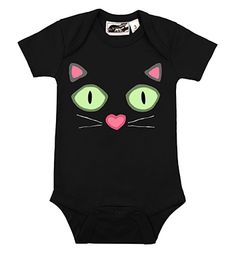 Kitty Face Black Cat Onesie Animal Baby Clothes by My Baby Rocks