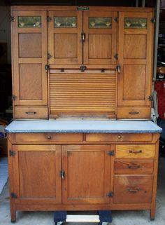 1920's Rare Antique Oak Hoosier Kitchen Cabinet / Cupboard w ...