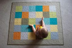 Gender Neutral Modern Patchwork Baby Quilt  by PeaceLoveandQuilts, $165.00