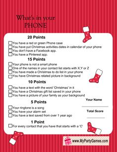Free Printable What's in Your Phone Christmas Game