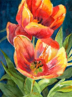 Red Tulips spring green flowers watercolor fine by PatChoffrut