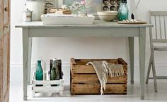 Vintage Furniture bottles-wooden-crate-baking-form - Use these five decorating tips to help you create the perfect vignette for your foyer! Vintage Furniture, Painted Furniture, Gray Furniture, Vintage Sofa, Handmade Furniture, Vintage Table, Custom Furniture, Modern Furniture, Furniture Design