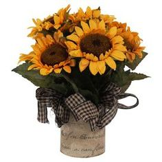 "Silk sunflower arrangement in a linen-covered pot with a checkered ribbon.  Product: Faux floral arrangementConstruction Material: Silk, plastic, glass and cottonColor: Yellow, green, brown and blackDimensions: 12"" H x 13"" DiameterCleaning and Care: For indoor use only"