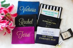5 Bridesmaid Makeup Bags - Personalized Cosmetic Bags - Makeup Pouches…