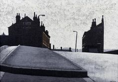 """""""West Riding Terraced By Yorkshire born, Stuart Walton Urban Life, Contemporary Paintings, Yorkshire, Terrace, Cities, Louvre, British, Industrial, Houses"""