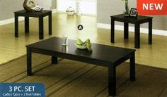 3 Pc. Table Set by Furniture of America. $207.03. Contemporary style. Black Finish.. Solid woods and veneer.. The simple clean lines of this contemporary three piece occasional table set will tie any living room together with style. Dimensions:Coffee Table: 47 5/8W x 23 5/8D x 15H End Table: 22W x 18D x 19HSome assembly may be required. Please see product details.