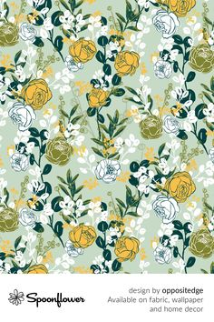Customize your own home decor, #wallpaper and #fabric at Spoonflower. Shop your favorite indie designs on #fabric, #wallpaper and home decor products on Spoonflower, all printed with #eco-friendly inks and handmade in the United States. #patterndesign #textildesign #pattern #digitalprinting #homedecor #florals #garden #green #roses Stoff Design, Spoonflower, Green Garden, All Print, Watercolor Flowers, Custom Fabric, Diy Wedding, Pattern Design, Digital Prints