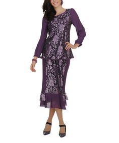 Look at this #zulilyfind! Purple Floral Scoop Neck Top Set - Women & Plus by Champagne Italy #zulilyfinds