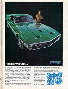 1969 Ford Mustang fastback Shelby GT 500 advertisement
