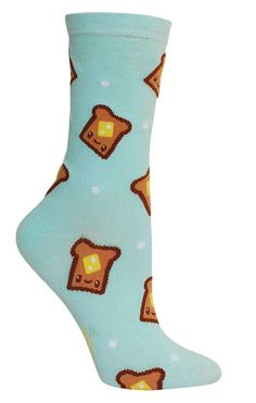 Yum toast! Pale blue crew length socks with happy buttery toasts all over. Fits women's shoe size 5-10.