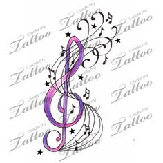 Marketplace Tattoo Music Notes, Stars & Treble Clef Swirl Tattoo #2000 | CreateMyTattoo.com