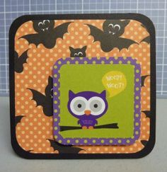 Woot Woot Owl Card       Finished size: 3x3; Solid black cardstock base (3x6); Bats paper: 2.5x2.5; Purple dot paper: 1.75x1.75; Owl sticker; Tools used: 12-inch Straight Trimmer, Multipurpose Tool, Scissors, Tape Runner, Foam Squares