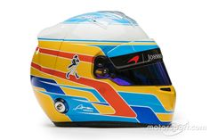 Fernando Alonso Photos Photos - In this handout supplied by McLaren the drivers helmet of Fernando Alonso of Spain seen at the launch of the new McLaren Formula One car for the 2017 season, the McLaren on February 2017 in Woking, England. Fernando Alonso Mclaren, New Mclaren, F1 2017, F1 Drivers, Shabby Chic Bedrooms, First Car, Formula One, Product Launch, Helmets