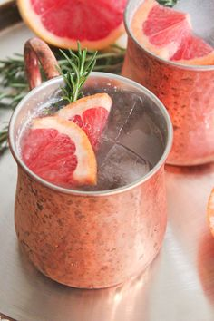 Grapefuit rosemary mule. These are delish. Up the ginger ale content slightly or they'll be too sour.