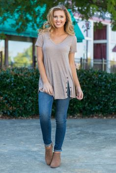 """""""Stepping Out Top, Taupe"""" This casual top is a must for everyday adventures! It's fabric is soft and the cut is generous yet still flattering!  #Newarrivals #shopthemint"""