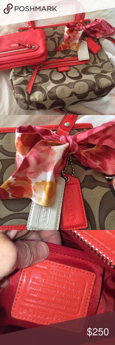 NWOT COACH This is a BEAUTIFUL BEAUTIFUL BAG❤️❤️.   Never used it was a gift from my husband and he got all the bells and whistles    It's too small for what I carry. Includes everything in picture. Coach Bags Crossbody Bags