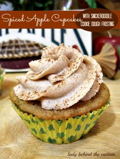 Spiced Apple Cupcakes with Snickerdoodle Cookie Dough Frosting - Lady Behind The Curtain