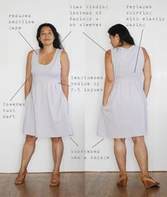 Alterations to the Washi dress Sewing Clothes Women, Diy Clothing, Clothing Patterns, Dress Patterns, Clothes For Women, Sewing Patterns, Washi Dress, Sewing Alterations, Dress Tutorials