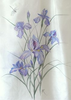 "Silk scarf ""Irises"" silk painting by Lena Korolyuk"