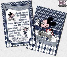 Mickey Mouse Football, Mickey Mouse Invitations, Mickey Invitation, Micky Birthday Invitation, Mickey Football Invitations