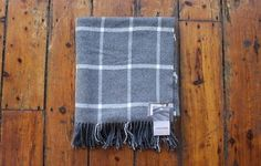 White on grey large check throw from Foxford. Our large check throws are pure new lambswool and woven in Ireland. This luxury throw has a colour Large White, Grey And White, Home Accessories Uk, Luxury Throws, Farrow Ball, Pure Products, Blanket, House Styles
