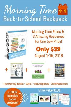 Back-to-School Morning Time Plans Backpack Too