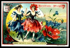 1898. Flower Girls (Cornflower & Poppy) trading card issued by Liebig Extract of Beef Company. S556.