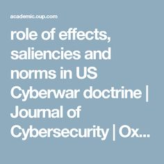 The US approach to cybersecurity implicitly rests on an effects-based logic. That is, it presumes that the key question determining how the US and ot My Journal, Oxford, This Or That Questions, News, Oxfords