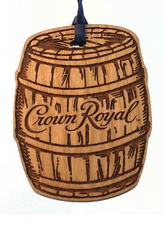 Barrel shaped ornaments made for Crown Royal. Wooden Ornaments, Christmas Ornaments, Crown Royal, How To Make Ornaments, Barrel, Favors, Cherry, Shapes, Holiday Decor