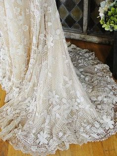 Work of Art c1900 Antique Edwardian Irish Crochet Lace Bridal Wedding Dress Gown | eBay