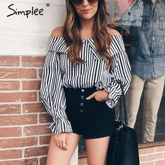 Simplee Off shoulder top striped shirt with choker Long sleeve blouse shirt women tops 2017 summer chemise femme casual blusas