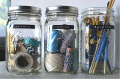 great way to organize your odds and ends {spring cleaning} I do love those mason jar :) Sewing Room Organization, Craft Room Storage, Organization Hacks, Organizing Crafts, Organising, Yarn Storage, Diy Storage, Storage Ideas, Mason Jars
