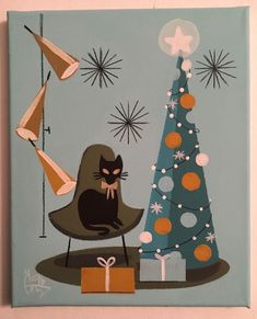 EL GATO GOMEZ PAINTING MID CENTURY MODERN EAMES ERA CAT CHRISTMAS TREE HOLIDAYS | eBay